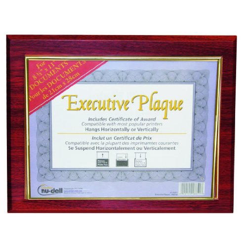 Nu-Dell 13 x 10.5 Inches Prestige Executive Award Plaque, Mahogany (18853M) ()