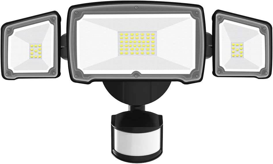 AOBISI Motion Sensor Light Outdoor, Dusk to Dawn LED Security Lights 4000LM Daylight Flood Light with 3 Adjustable Heads Floodlights IP65 Waterproof for Garage, Patio, Garden, Porch&Stair(Black)