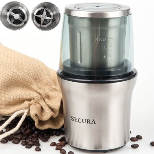 Secura Electric Coffee Spice Grinder Stainless-steel Blades Removable Bowl by Secura