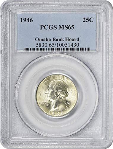1946 Washington Quarter Omaha Bank Hoard MS65+ PCGS