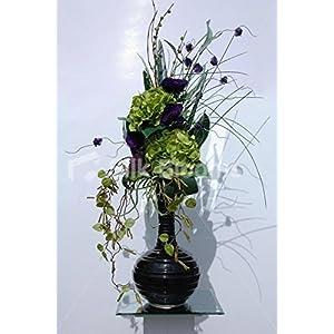 Large Modern Vase Display w/ Green Hydrangea & Purple Anemones 65