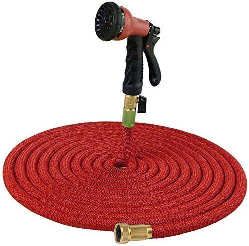 25-100 foot Garden hose Expandable Water Pipe Double Latex Core flexible Expansion Hose With Plastic 8 Function Nozzle Suit (color : Blue, Lengh : 50ft) Water pipe Black