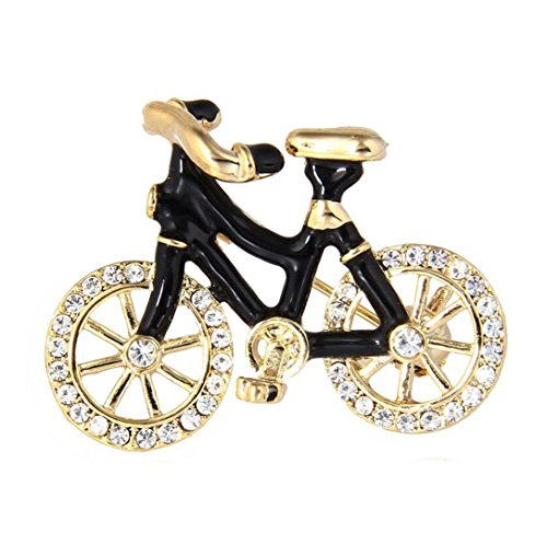 Pin Bike Brooch (MLXZ Sport Bicycle Brooches For Women Men Gold-Color Fixed Gear Garment Pins Accessory Enamel Rhinestone Bike Brooch Badge CC18331A)