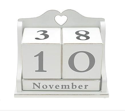 Lesser & Pavey - Calendario da tavolo, in legno, colore: bianco ...