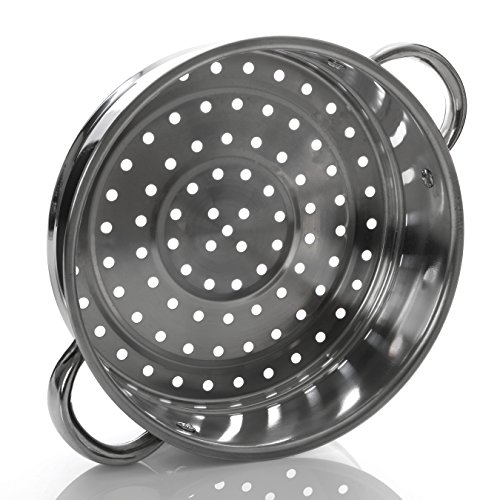 -[ Premier Housewares Stainless Steel Steamer with Glass Lid, 22 cm  ]-
