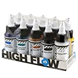 Golden High Flow Acrylic, Assorted 10 Color Set, Burnt Sienna, Carbon Black, Quinacridone Magenta, Hansa Yellow Med, Quin/Nickel Azo Gold, Naphthol Red Light, Phthalo Blue, Phthalo Green, Ultra Blue & Titanium White.,