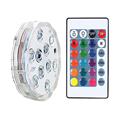 Remote Controlled Submersible Led Lights, AICase Waterproof Multi-Color RGB Battery Powered Versatile Function Light with 10 Leds for Vase Base, Floral, Aquarium, Halloween, Party, Christmas