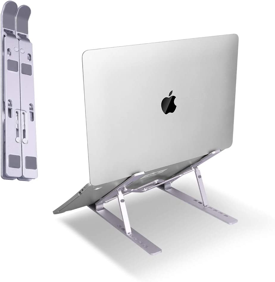 Laptop Stand, Holder with7-Height Adjustable Ergonomic Foldable Portable Laptop Riser Aluminum Ventilated Cooling Desktop Computer Tablet Support Mount Compatible with All Laptops(Silver)