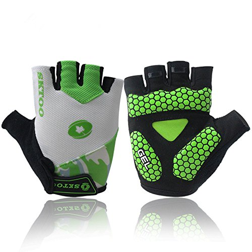 Good Specialized Adults/Youth Knit Half-Finger Gloves Comfort For Motorcycle Riding Bicycle Cycling Outdoor Sports Camping Driver Biker Bodybuilder Fisher Muscle Training Hike Jogging (Green, XL)