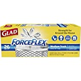 Glad Medium Quick-Tie Trash Bags - ForceFlex 8 Gallon White Trash Bag, Unscented - 26 Count Each (Pack of 12)