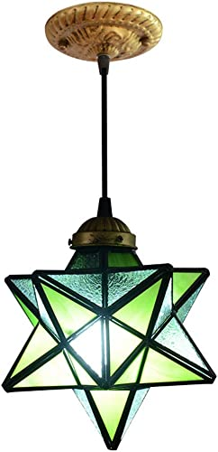 8-inch Moravian Star Stained Glass Ceiling Pendant Light