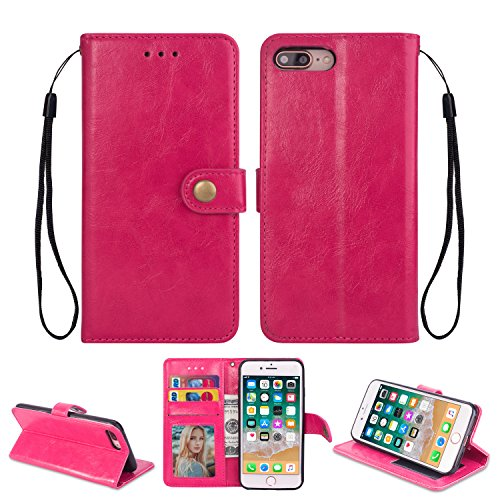 Ostop iPhone 8 Plus Case,iPhone 7 Plus Leather Wallet Case,Magenta Classic Oil Wax PU Stand Purse Credit Card Slots Holder Flip Stylish Simple Cover Retro Metal Clasp
