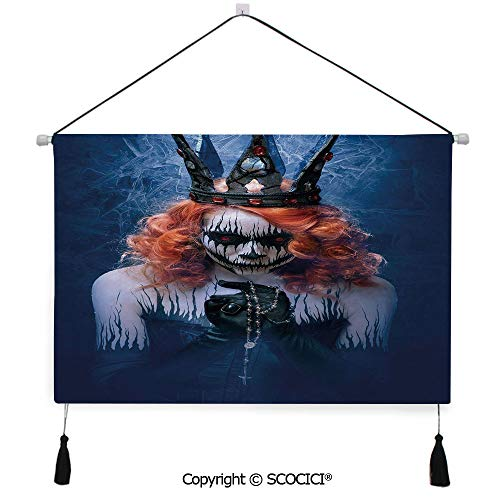 SCOCICI Durable Material Multipurpose W24xL17inch Wall Hanging Tapestry Queen of Death Scary Body Art Halloween Evil Face Bizarre Make Up Zombie Decorative Painting Living Room Painting Fabric Backgr]()