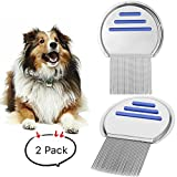 Merlilive Lice Comb Brushes Fine Egg Dust Removal Stainless Steel for Pets(2 Pack)