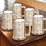 Personalized Set of 5 Gunmetal Beer Mugs - Personalized Beer Mugs