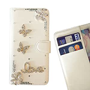 Cat Family Crystal Diamond Waller Leather Case Cover - FOR Samsung Galaxy Grand Prime (G530 G530H G530F G530M ) - Butterfly Love Flower Pink -