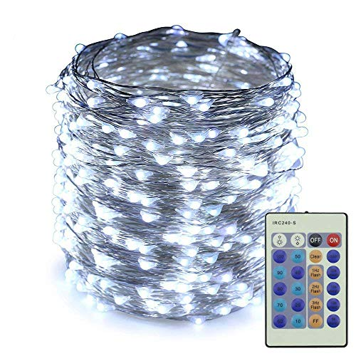 ER CHEN Dimmable LED String Lights,165Ft 500 LEDs Silver Wire Starry String Lights with Remote Control and Adapter For Seasonal Decorative Christmas Holiday, Wedding, Parties(White)