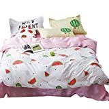 OTOB Kids Bedding Sets for Girls Twin Cotton Stars Watermelon Print Pattern White Pink Reversible Children Duvet Cover Bed Set Twin, Style 4