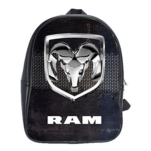 Price comparison product image Dodge Ram Truck Logo Black Leather Notebook School Backpack