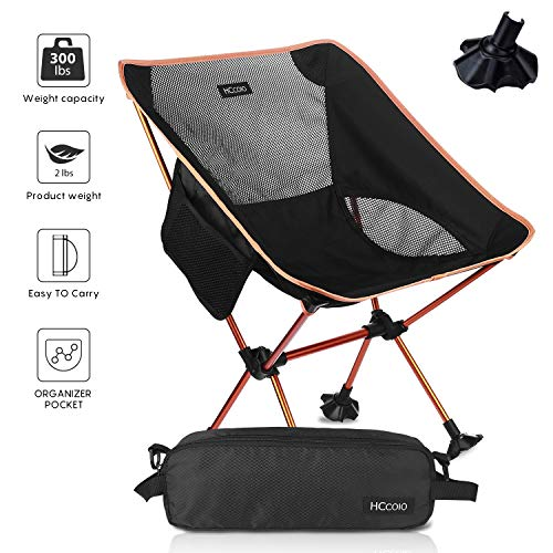 HCcolo 【Upgrade Non-Slip Feet】Camping Chair-Lightweight Folding Camping Backpack Chairs with 300 lbs Capacity,for Outdoor Camp,Travel,Beach, Picnic, Festival, Hiking(Camping Chair only 2 lbs) (Orange)