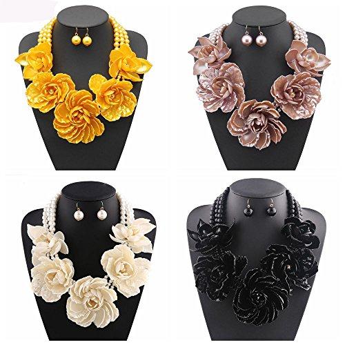 Bocar Statement Big Pendant Pearl Flower Necklace Earrings Jewelry Set for Women