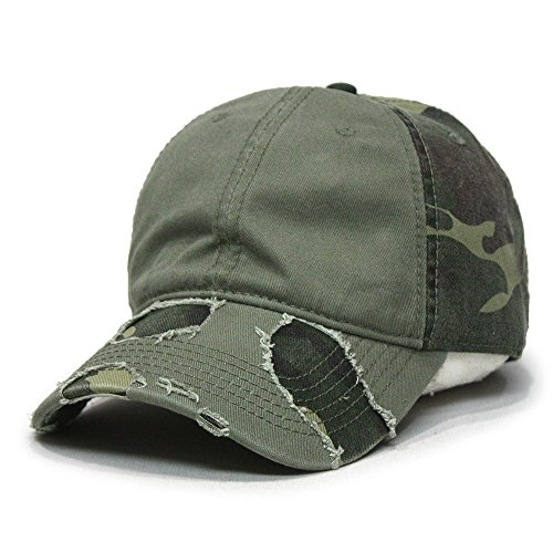 Camouflage Washed Cotton Twill Distressed Visor Low Profile Baseball Cap w/ Adjustable Velcro (Olive Green/Green Camo)