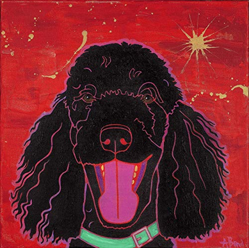 Happy Noodles Poodle Wall Art MATTED Print, Dog Pop art by Angela Bond