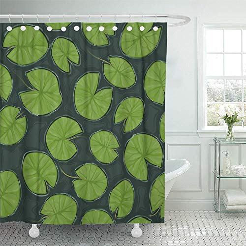 PAUSEBOLL Green Water Pond with Lily Pads on The Top View Leaf Cartoon Dark Depth Drawing Lake Shower Curtain Bathroom with Hooks,Waterproof Polyester Curtain (Sassy Lily Pad)