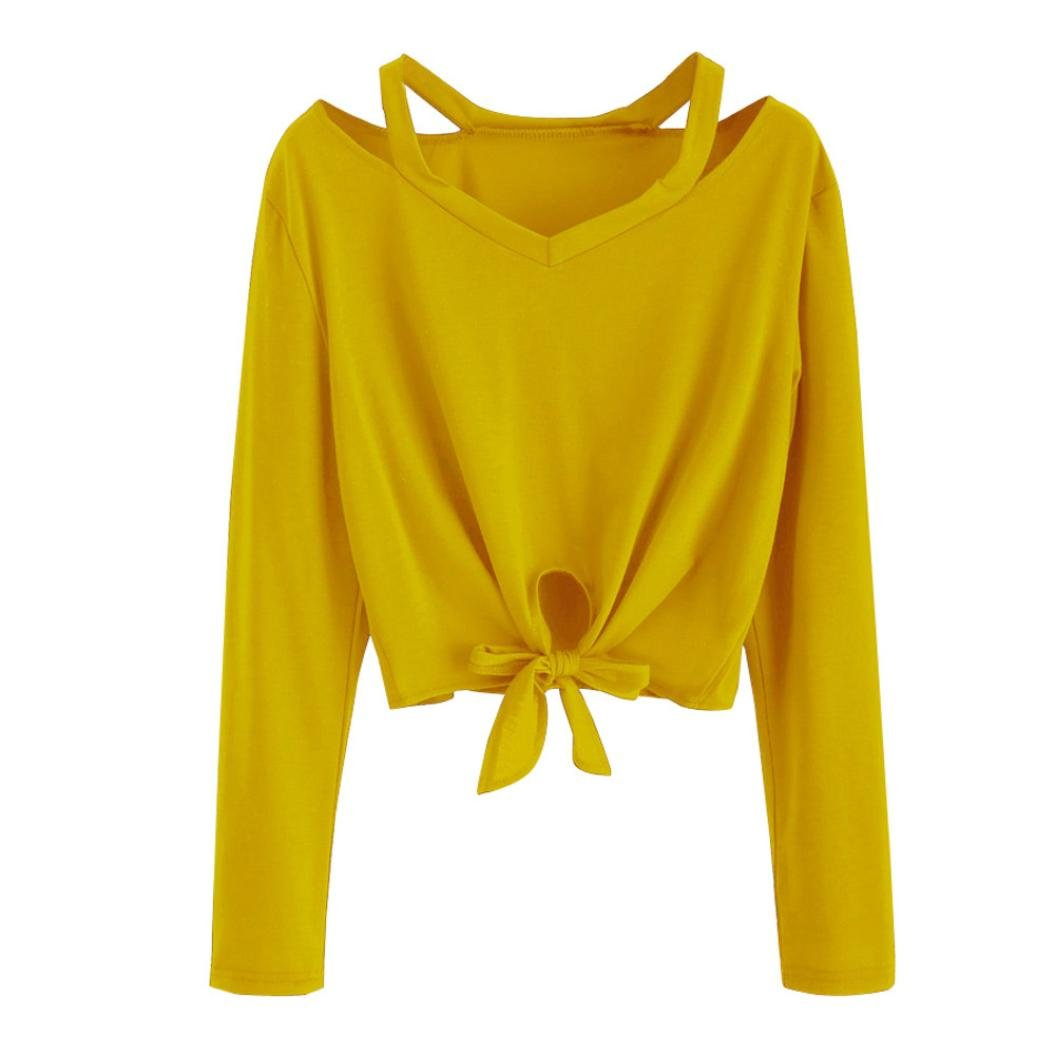 7685cd53f69 Kangma Women Solid Bow Hollow Out V-Neck Casual Long Sleeve T-Shirt Tunics  Blouse Yellow at Amazon Women s Clothing store