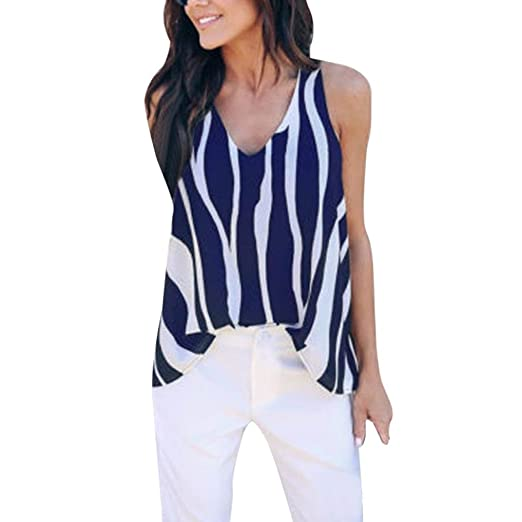 0bdab56cc6e07f NREALY Women Summer Cold Shoulder V Neck Sleeveless Striped Vest Tank Tops  Shirt Blouse(Blue