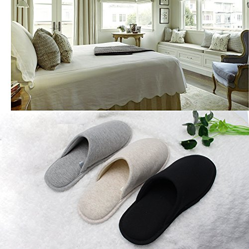 Ofoot Men's Cozy Thread Cloth Organic Cotton House Slippers, Washable Flat Indoor/Outdoor Slip On Shoes (Small/7.5-8.5 D(M) US, Black) by Ofoot (Image #5)