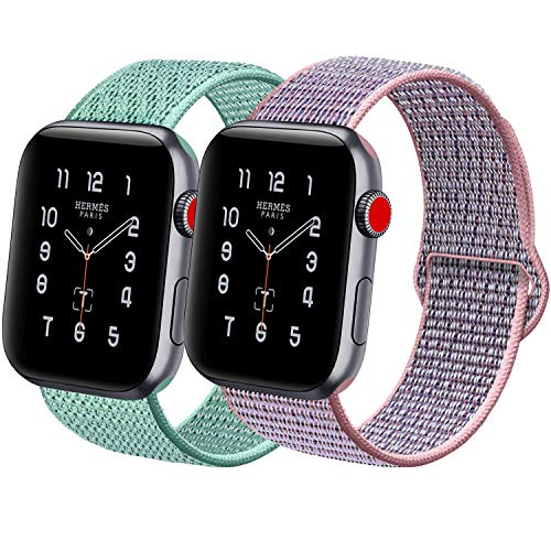 (ATUP Compatible with for Apple Watch Band 38mm 40mm Women Men, Replacement Sport Wrist Bands Compatible with for iWatch Apple Watch Series 4 3 2 1, Marine Green & Pink Sand(with Purple), 38mm/40mm )