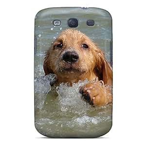 Anti-scratch And Shatterproof Doggie Swim Phone Case For Galaxy S3/ High Quality Tpu Case
