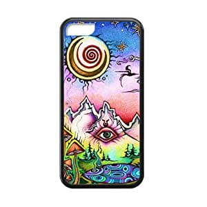 Canting_Good Funny trippy sun and moon Custom Case Shell Skins for iPhone 5C TPU (Laser Technology)