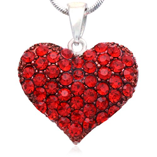 Rhinestone Heart Jewelry (Valentine's Day Gift Love Red Heart Necklace Pendant Charm Women Fashion Jewelry)