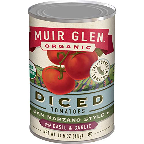 atoes, Organic Diced Tomatoes with Basil & Garlic, San Marzano Tomatoes, No Sugar Added, 14.5 Ounce Can ()
