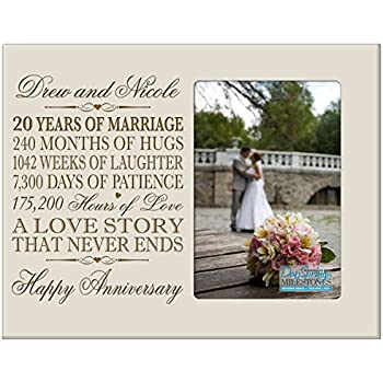 Personalized Twenty Year Anniversary Gift For Her Him Couple Custom Engraved 20th Wedding Celebration