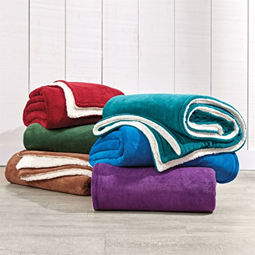 BrylaneHome Studio Sherpa Microfleece Reversible Blanket (Hunter Green,Full)