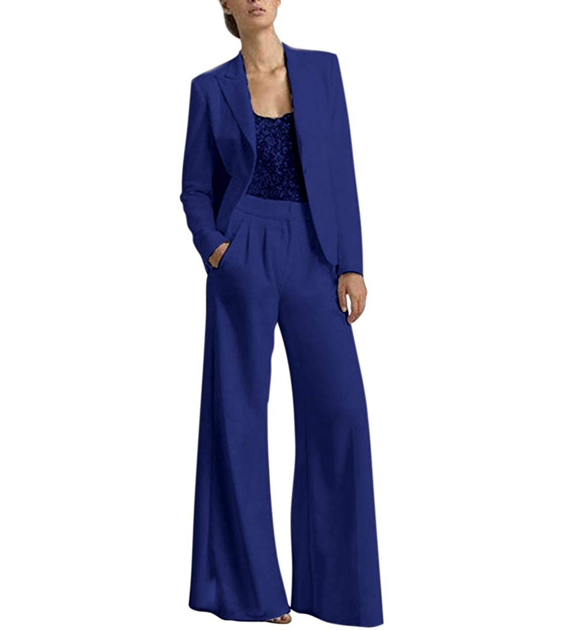 Royal bluee TBB Women's 2 Pieces Mother of The Bride Dress Pant Suits with Polyester Jacket Office Lady