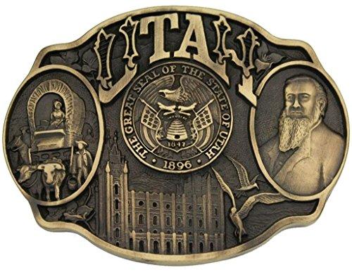 Montana Silversmiths Men's Utah State Heritage Attitude Belt Buckle Gold One Size - Yellow Gold Belt Buckle