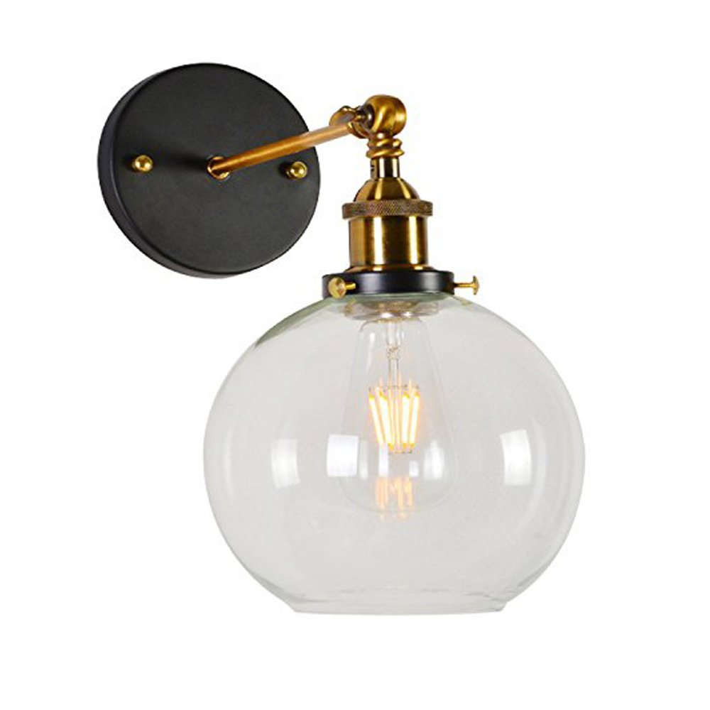 Lingkai Vintage Industrial Wall Sconce Round Glass Ball Shape Wall Lamp Vintage Lighting Fixture Light