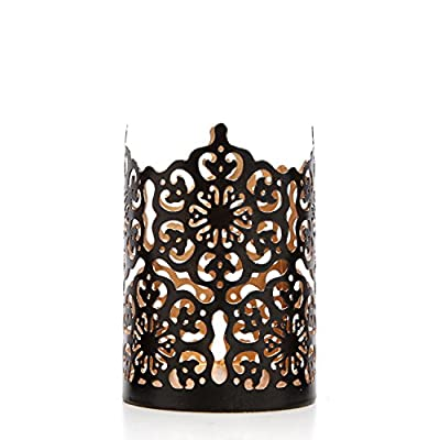 "Hosley Set of 3 Black Finish Metal Candle Holder 4"" High Lattice Cut Lantern Ideal Gift for Votive Gardens, LED Tealights, Weddings, Spa, Reiki O3"