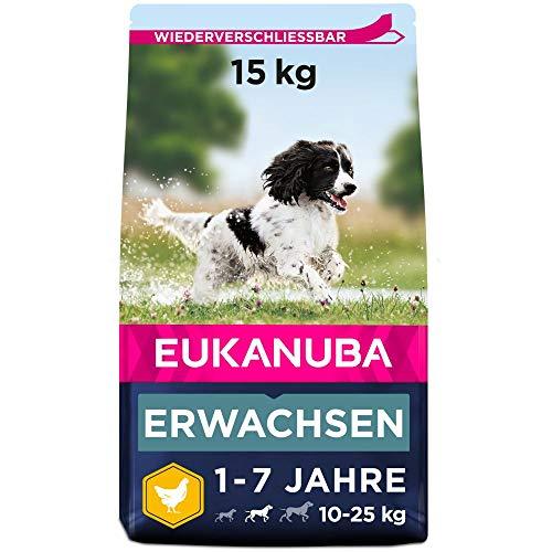 Eukanuba Hundefutter mit frischem Huhn für mittelgroße Rassen, Premium Trockenfutter für ausgewachsene Hunde, 15 kg