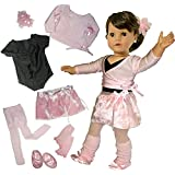 Doll Clothing for 18 Inch Dolls, Complete 7 Pc. Doll Ballet Outfit by Sophia's, Fits 18 Inch American Girl Dolls, Doll Leotard, Hairpiece, Doll Sweater, Doll Skirt, Tights, Doll Warm Up Socks, & Doll Ballet Slippers