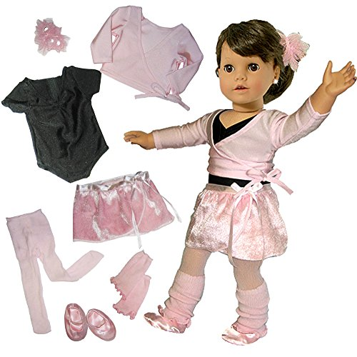American Girl Sweater - Sophia's Doll Clothing for 18 Inch Dolls, Complete 7 Pc. Doll Ballet Outfit, Fits 18 Inch American Girl Dolls, Doll Leotard, Hairpiece, Doll Sweater, Skirt, Tights, Warm Up Socks & Ballet Slippers