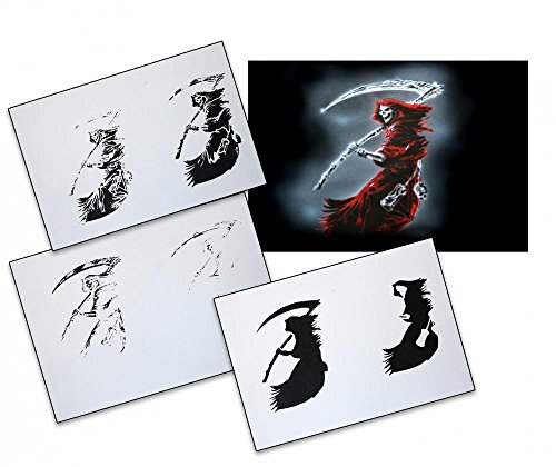 UMR-Design AS-087 Grim Reaper Airbrush Stencil Template Step by Step Size L 9.8 x 6.3 inch
