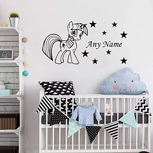 Lovely Pony Star Personalized Any Name Vinyl Wall Sticker Baby Nursery Room Decorative Sticker DIY Vinyl Art Decal Mural W-96