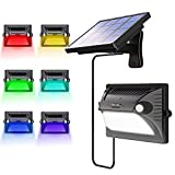 Solar Lights Outdoor, Bcway 7 Colors Changing Dual Motion Detector 180° Sensing [5 Lighting Modes] 12LED 200LM Solar Powered Security Light for Garage Yard Front Door