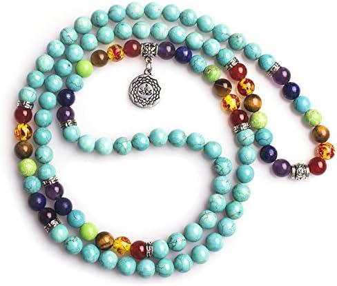 Mala Perlen 108 Lava Bild Jaspis Edelstein OM Mala Armband Halskette tibetischen buddhistischen Gebetskette