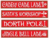 Kitchen & Housewares : Beistle 4-Pack North Pole Street Sign Cutouts, 4-Inch by 24-Inch